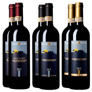 Confezione Vino Nobile: 2 Vino Nobile di Montepulciano 2015 Maestro DOCG, 2 Vino Nobile di Montepulciano 2013 Riserva DOCG, 2 Vino Nobile di Montepulciano 2013 Terrarossa DOCG